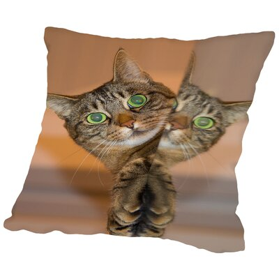 Cute And Sweet Cat Throw Pillow Size: 16 H x 16 W x 2 D