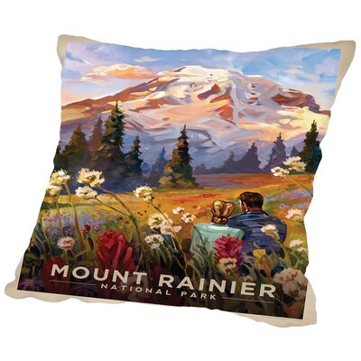Mt. Rainier Throw Pillow Size: 14 H x 14 W x 2 D