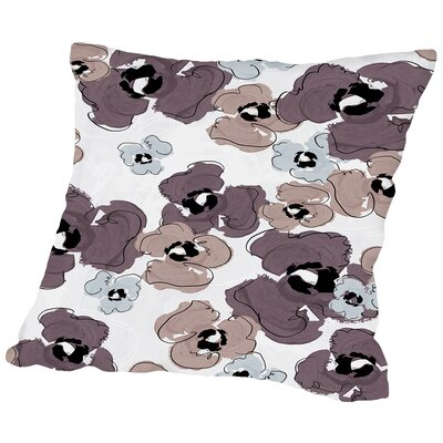 Poppy Petals Tossed Wine Throw Pillow Size: 18 H x 18 W x 2 D