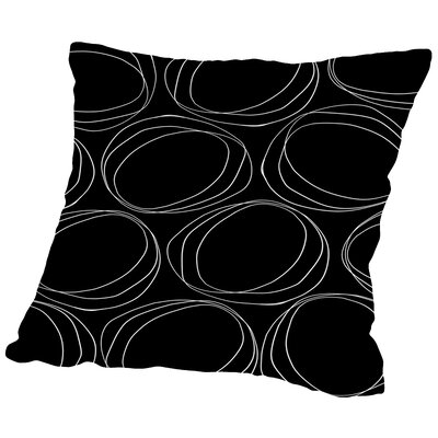 Poppy Petals Large Circles Throw Pillow Color: Black, Size: 18 H x 18 W x 2 D