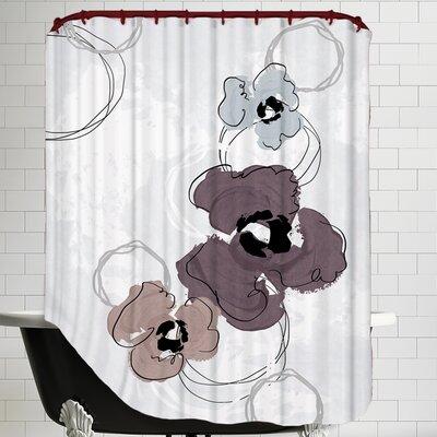 Poppy Petals Wine Shower Curtain