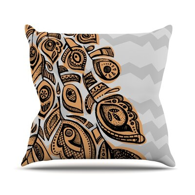 Peacock by Brienne Jepkema Outdoor Throw Pillow Color: Yellow