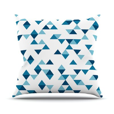 Triangles Outdoor Throw Pillow Color: Blue