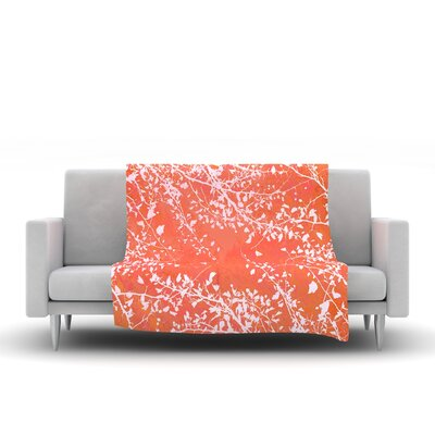 Twigs Silhouette Fleece Throw Blanket Size: 40 L x 30 W, Color: Coral