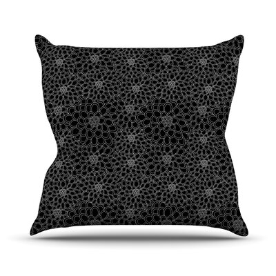 Flowers by Julia Grifol Outdoor Throw Pillow Color: Black