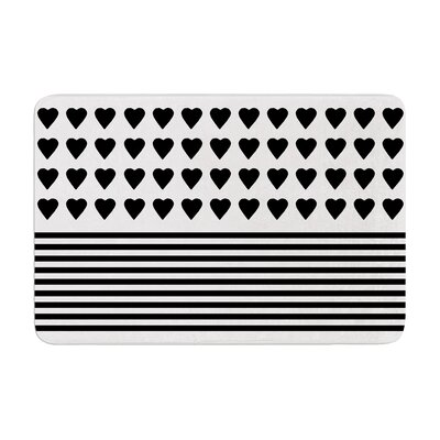 Heart Stripes by Project M Bath Mat Color: Black/White