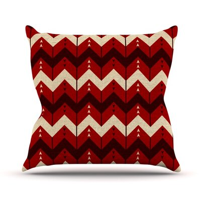 Chevron Dance Outdoor Throw Pillow Color: Red