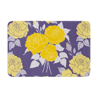 Summer Rose by Anneline Sophia Bath Mat Color: Yellow, Size: 24 W x 36 L