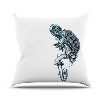 Turtle Tuba by Graham Curran Outdoor Throw Pillow Color: White