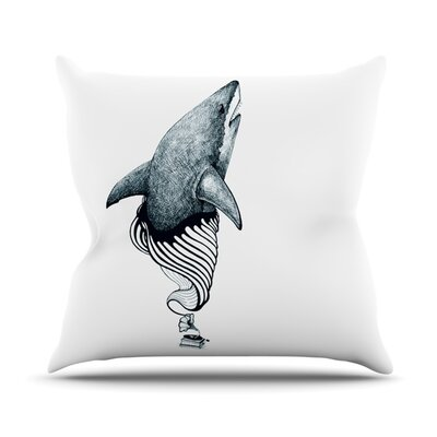 Shark Record by Graham Curran Outdoor Throw Pillow Color: White