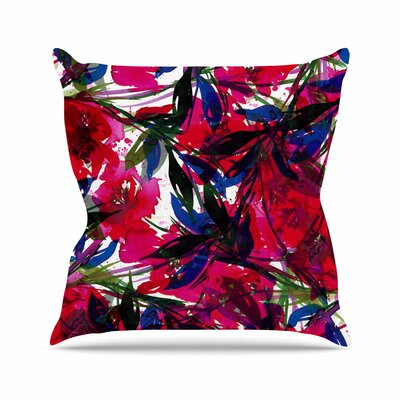 Floral Fiesta Throw Pillow Color: Red, Size: 20 H x 20 W x 7 D