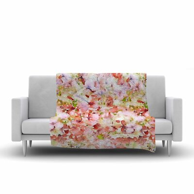 Floral Fantasy by Carolyn Greifeld Fleece Blanket Color: Orange