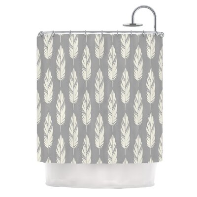 Feathers by Amanda Lane Dark Shower Curtain Color: Gray