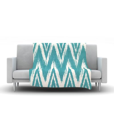Tribal Chevron Fleece Throw Blanket Size: 40 L x 30 W, Color: Aqua