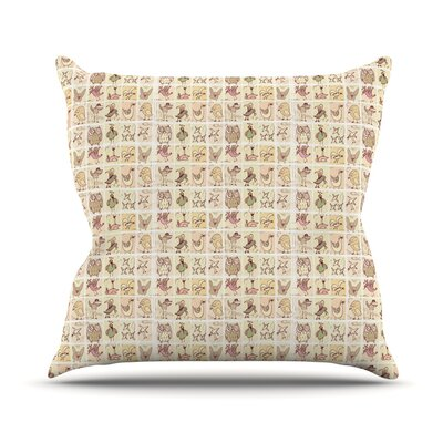 Cute Birds Outdoor Throw Pillow Color: Tan