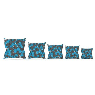 In Bloom Throw Pillow Size: 16 H x 16 W x 3 D, Color: Blue/Gray