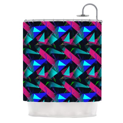 Confetti Triangles by Alison Coxon Shower Curtain Color: Magenta/Blue