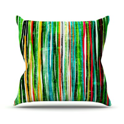 Fancy Stripes Outdoor Throw Pillow Color: Green