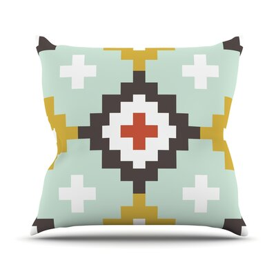 Moroccan Diamonds by Pellerina Design Outdoor Throw Pillow Color: Gold/Mint