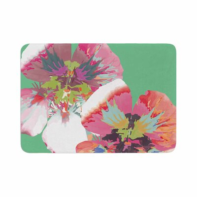 Graphic Flower Nasturtium by Love Midge Memory Foam Bath Mat Size: 24 L x 17 W, Color: Mint