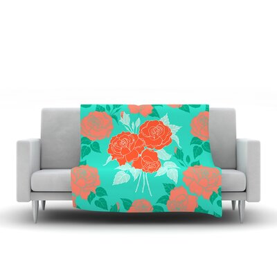 Summer Rose by Anneline Sophia Fleece Throw Blanket Size: 40 L x 30 W, Color: Orange