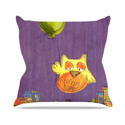 Owl Balloon by Carina Povarchik Throw Pillow Size: 18 H x 18 W x 3 D