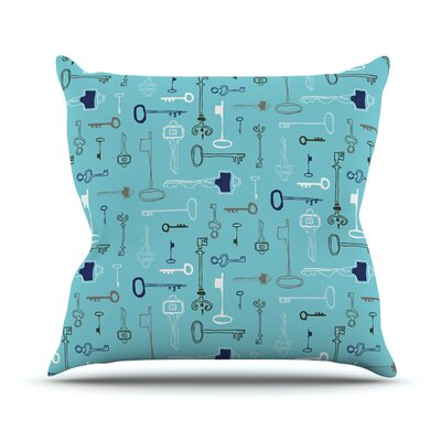 Keys Outdoor Throw Pillow Color: Blue