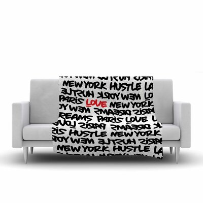 Lux Writing Fleece Throw Blanket Color: White/Black/Red, Size: 90 L x 90 W