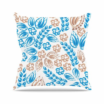 Flowers Throw Pillow Color: Blue / White, Size: 26 H x 26 W x 7 D