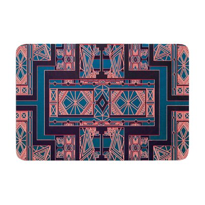 Golden Art Deco by Nika Martinez Bath Mat Color: Blue/Coral