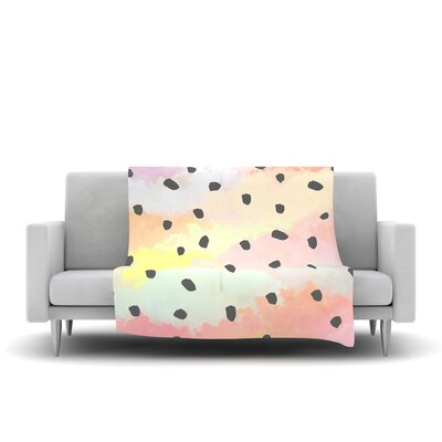 With Dots Fleece Throw Blanket Size: 40 L x 30 W