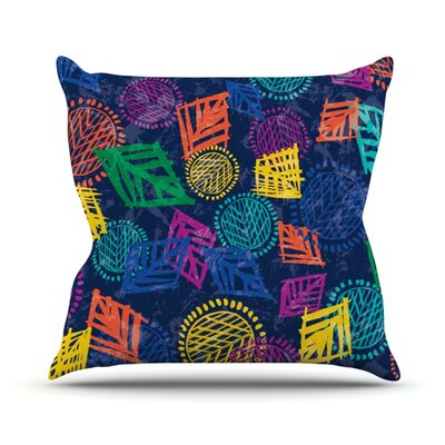 African Beat by Emine Ortega Outdoor Throw Pillow Color: Blue