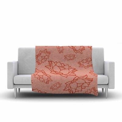 Lotus Pattern Fleece Blanket Color: Red