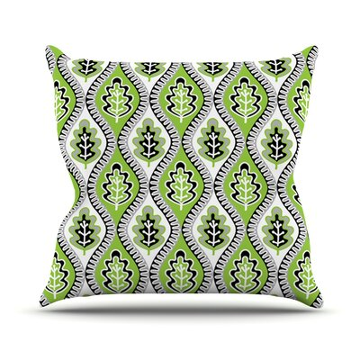 Oak Leaf by Jacqueline Milton Outdoor Throw Pillow Color: Lime