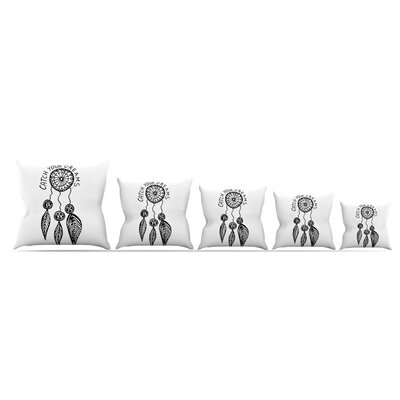 Catch Your Dreams Throw Pillow Size: 18 H x 18 W x 3 D, Color: White