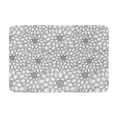 Flowers by Julia Grifol Bath Mat Color: White, Size: 17W x 24L