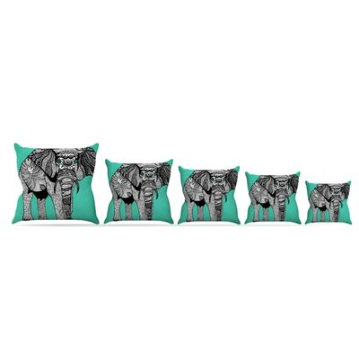 Elephant of Namibia Throw Pillow Size: 16 H x 16 W, Color: Green/Black