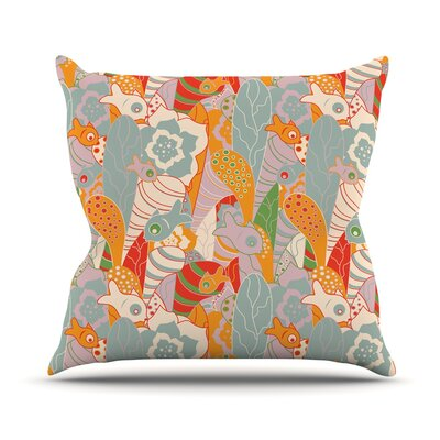 Fishes Here, Fishes There 2 by Akwaflorell Throw Pillow Size: 18 H x 18 W x 3 D