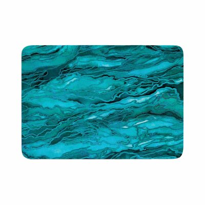 Marble Idea! by Ebi Emporium Memory Foam Bath Mat Size: 24 L x 17 W, Color: Light Teal/Aqua