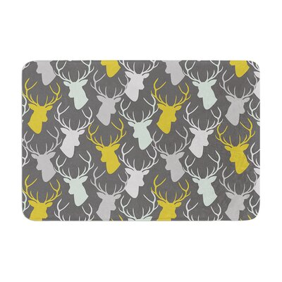 Scattered Deer by Pellerina Design Bath Mat Color: Gray, Size: 24 W x 36 L