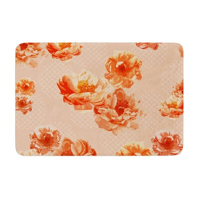 Lace Peony by Pellerina Design Bath Mat Color: Orange, Size: 24 W x 36 L