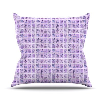 Cute Birds Outdoor Throw Pillow Color: Purple