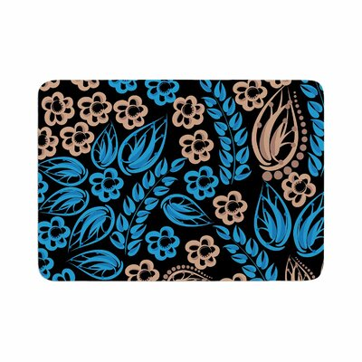 Flowers by Maria Bazarova Memory Foam Bath Mat Size: 24 L x 17 W, Color: Blue