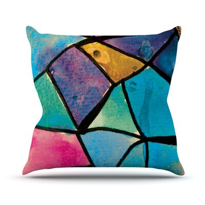 Stain Glass by Theresa Giolzetti Outdoor Throw Pillow Color: Yellow/Blue