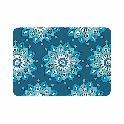 Flower Burst by Sarah Oelerich Bath Mat Color: Blue