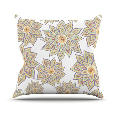 Floral Outdoor Throw Pillow Color: White