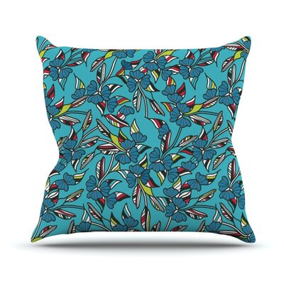 Paper Leaf Outdoor Throw Pillow Color: Blue