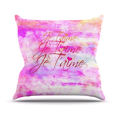 Je Taime by Ebi Emporium Outdoor Throw Pillow Color: Abstract Pink