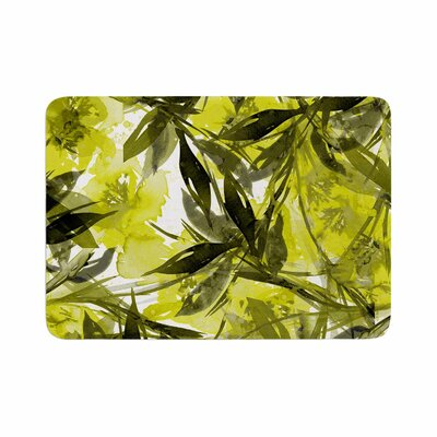 Floral Fiesta by Ebi Emporium Memory Foam Bath Mat Size: 36 L x 24 W, Color: Yellow/Gray