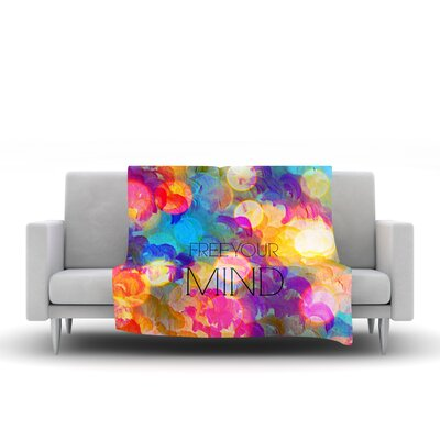Free Your Mind Fleece Throw Blanket Color: Rainbow, Size: 80 L x 60 W